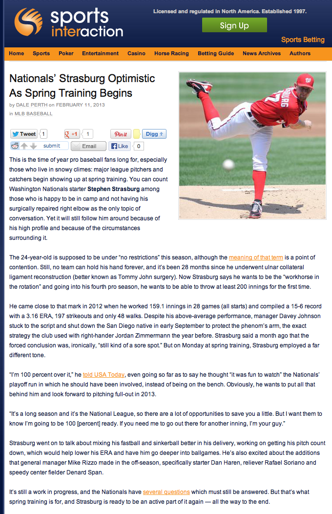 Sports Interaction blog- Nationals' Strasburg Optimistic As Spring Training Begins