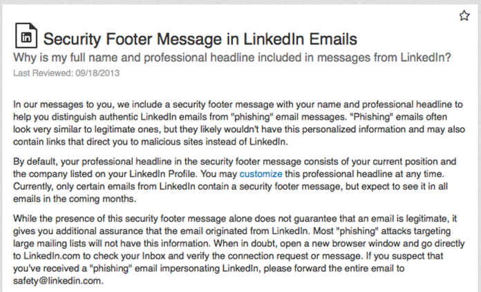 LinkedIn security footer message